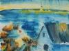 043_Haus an der Küste Norwegens (aquarellierte Zeichnung)    2000   22x28 cm